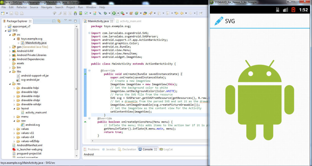 integrare svg in android pas4