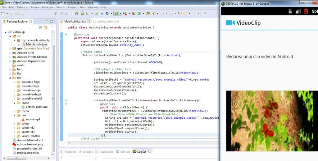 Redarea unui clip video în Android pas 3